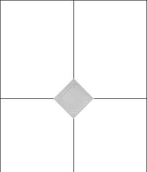 1 и 2 шаг: нахождение центра потолка и приклеивание первой плитки